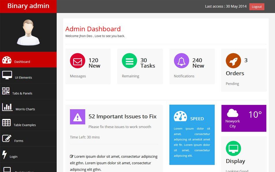 Binary Admin - Free Bootstrap Admin Template