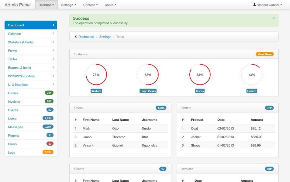Bootstrap Admin Theme