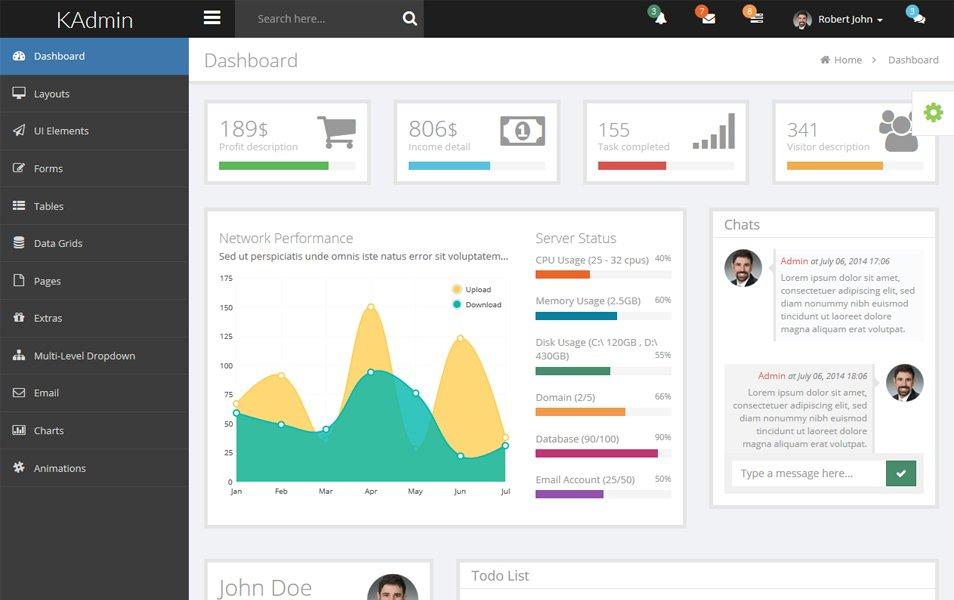 KAdmin – Free Responsive Admin Dashboard Template