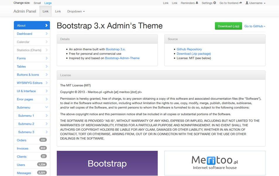 Meritoo Bootstrap 3 Admin Theme