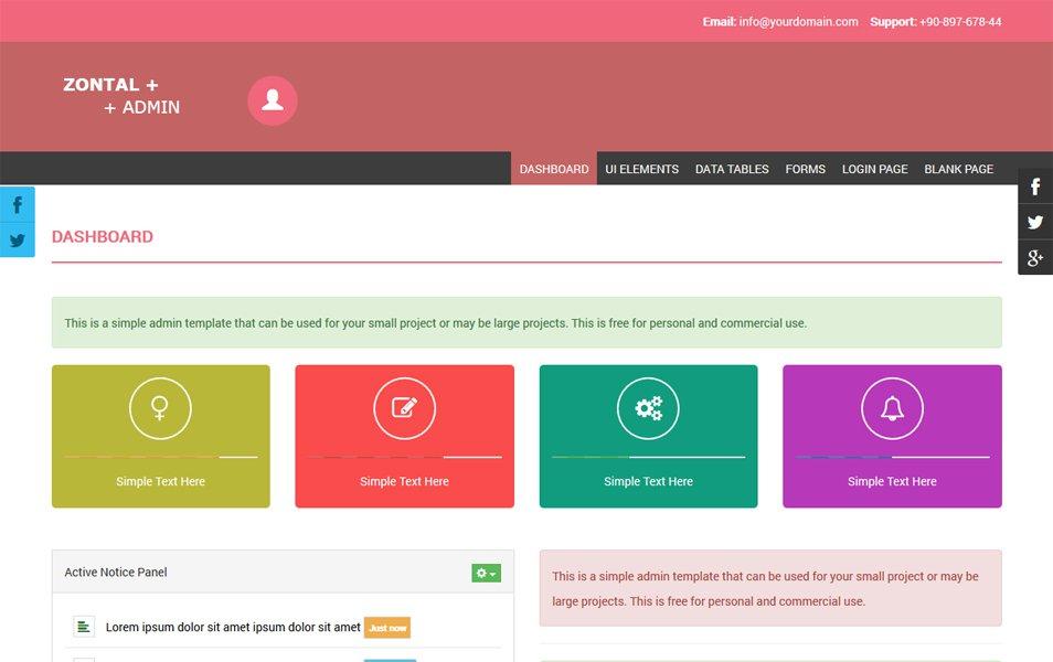 Zontal Admin - Free Responsive Admin Template