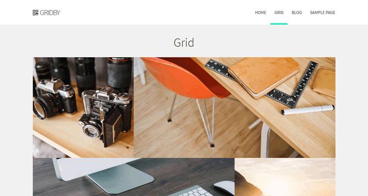 Gridby free wordpress Bootstrap WP theme creatives portfolio