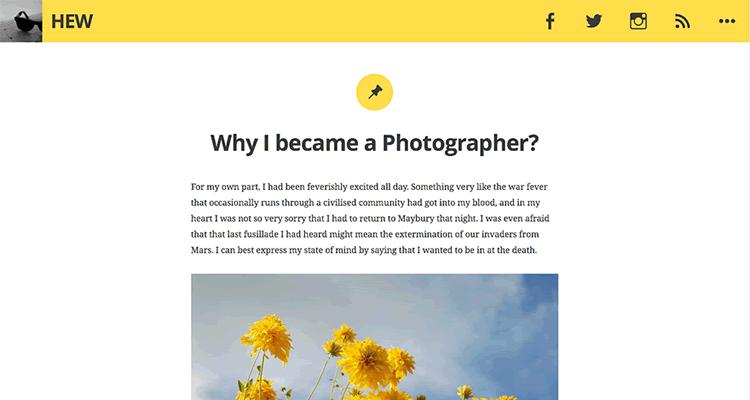 Hew clean personal blog theme free wordpress