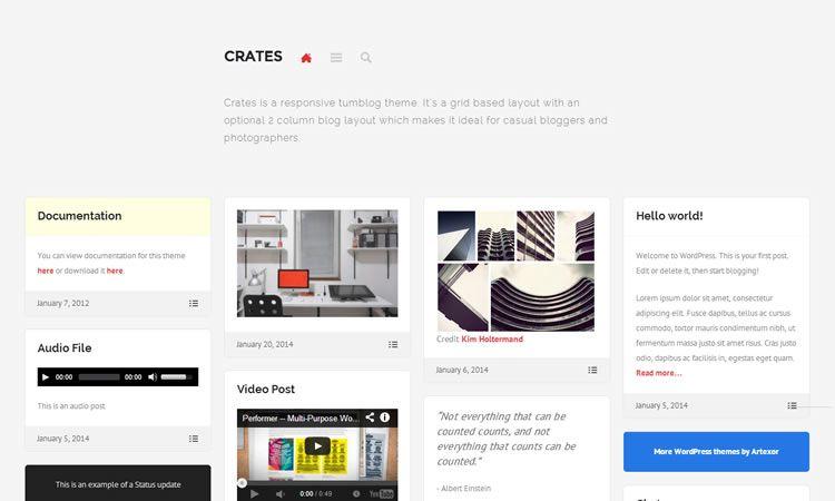 Tumblog style new responsive free WordPress themes Crates