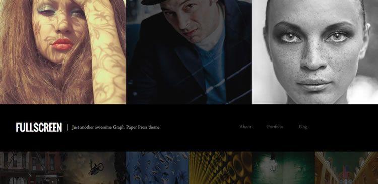 One column photography new responsive free WordPress themes Fullscreen